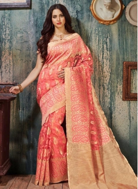 Prime Beige and Salmon Resham Work Contemporary Style Saree For Ceremonial