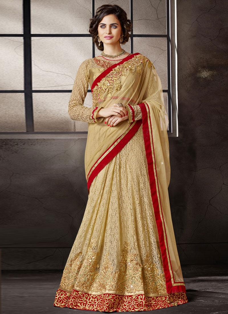 Prime Beige Color Jacquard And Net Lehenga Style Saree