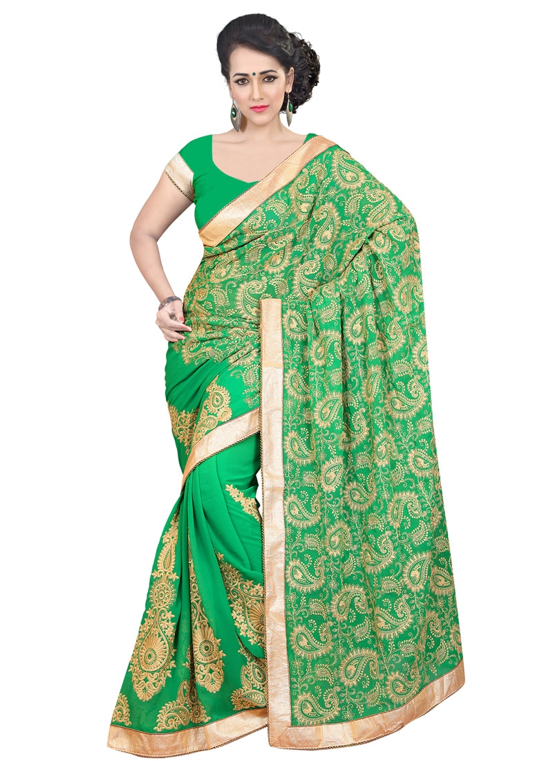 Prime Booti Work Green Color Designer Saree