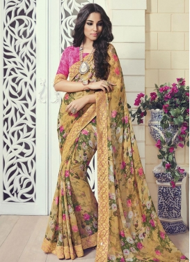 Prime Digital Print Work Trendy Saree For Ceremonial