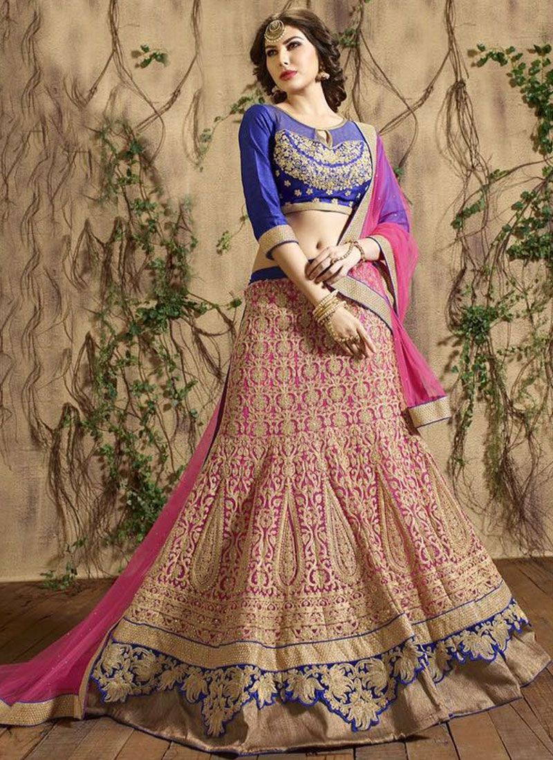 Prime Embroidery Work Hot Pink Color Bridal Lehenga Choli