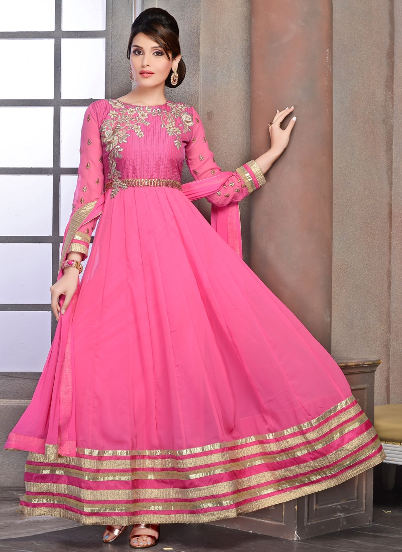 Prime Floral And Lace Work Anarkali Salwar Kameez