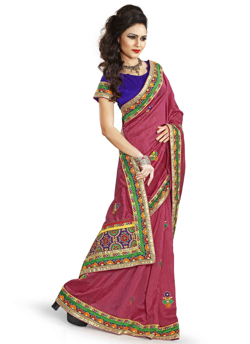 Prime Salmon Color Patch Border Work Designer Saree