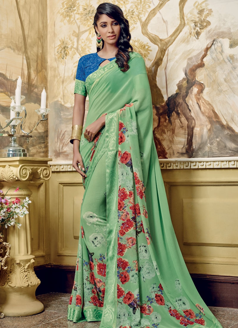Princely Aloe Veera Green Color Casual Saree