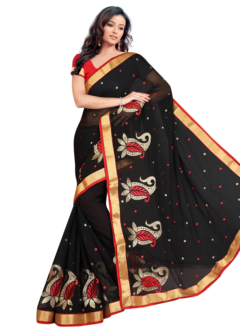 Princely Black Color Stone Work Casual Saree