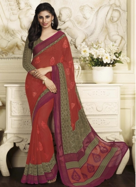 Princely Brown and Crimson Faux Georgette Booti Work Trendy Saree
