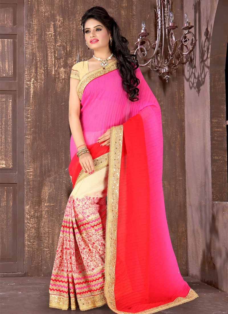 Princely Crush Resham Work Half N Half Wedding Saree