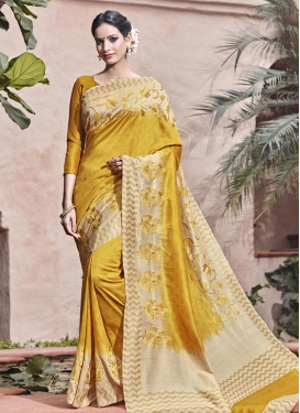 Princely Embroidered Work Cream and Gold Contemporary Saree