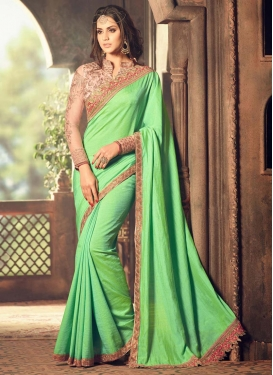 Princely  Embroidered Work Designer Contemporary Saree