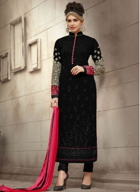 Princely Embroidered Work Pakistani Straight Salwar Suit