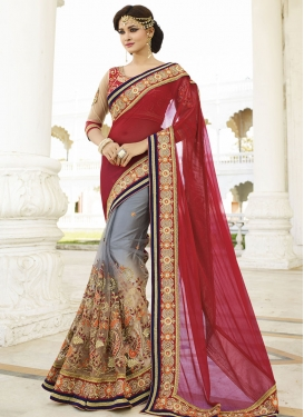 Princely Embroidery And Beads Work Half N Half Wedding Saree