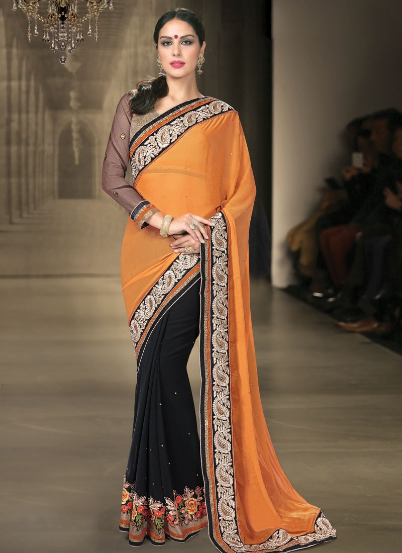 Princely Floral And Stone Work Half N Half Designer Saree