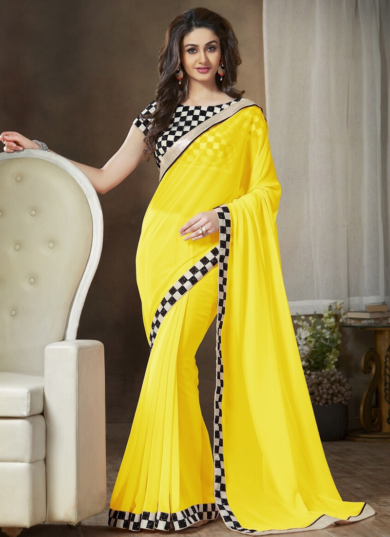 Princely Lace Work Casual Saree