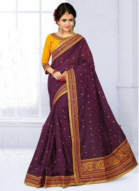 Princely  Lace Work Chanderi Silk Contemporary Saree