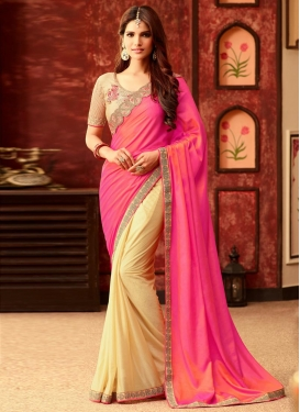 Princely  Lace Work Half N Half Trendy Saree For Ceremonial