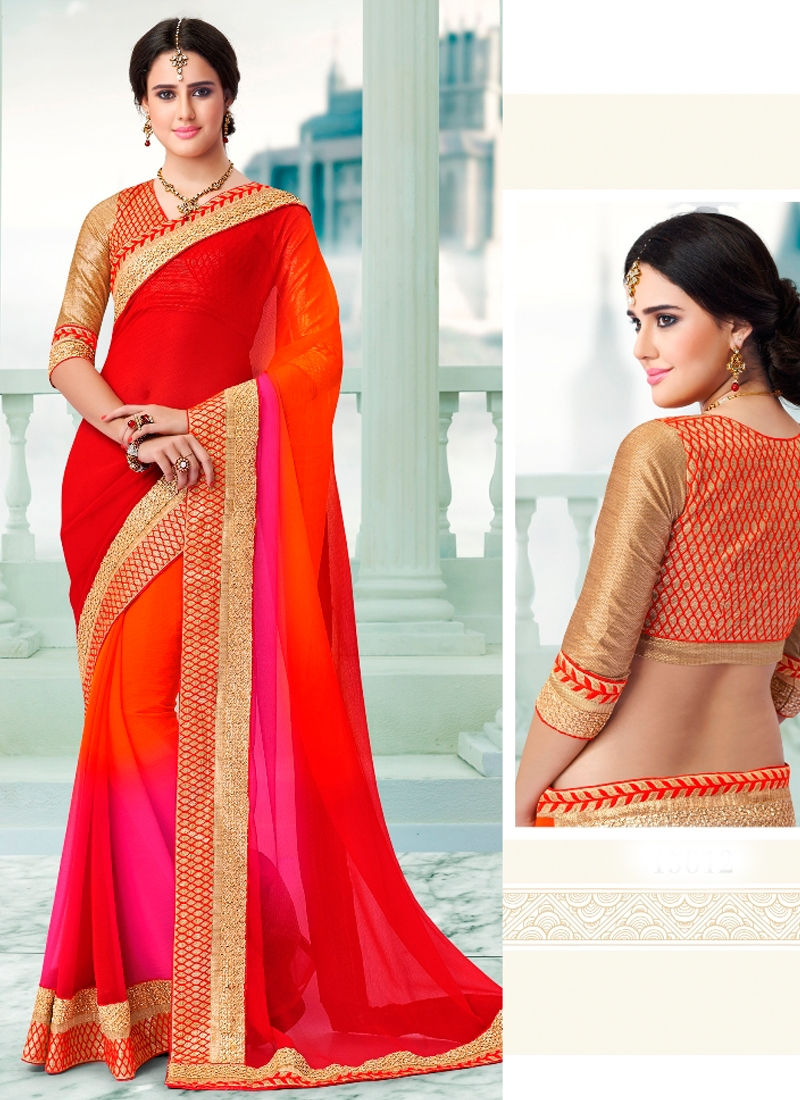 Princely Lace Work Multi Color Party Wear Saree
