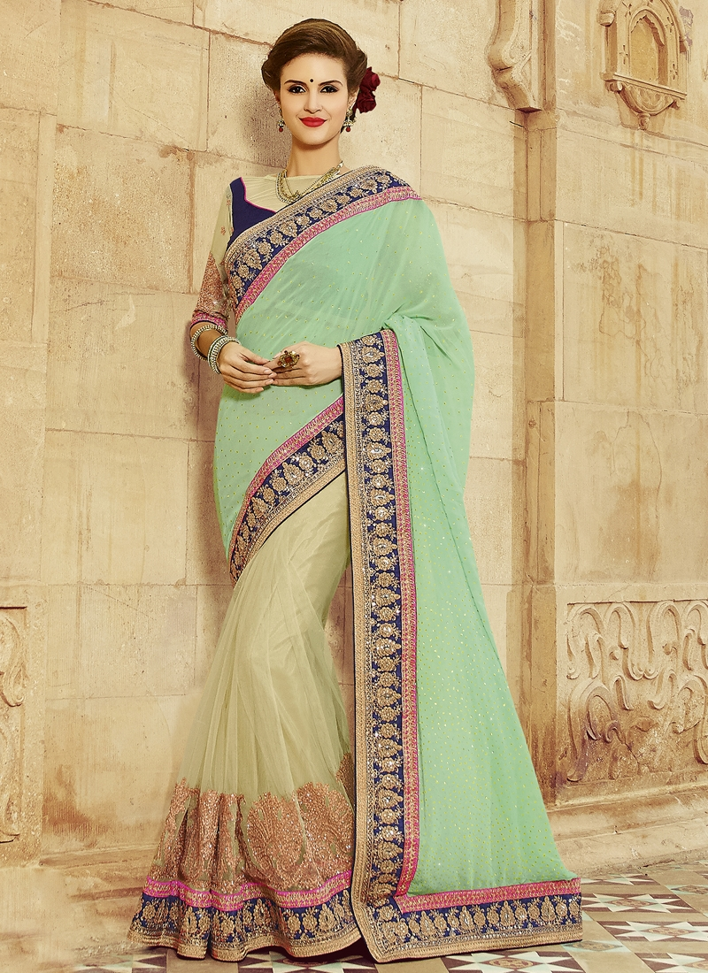 Princely Stone And Booti Work Half N Half Designer Saree