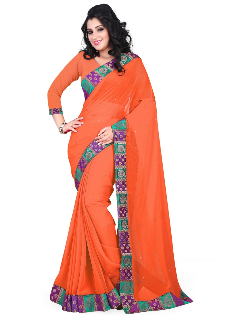 Princely Stone Work Orange Color Casual Saree