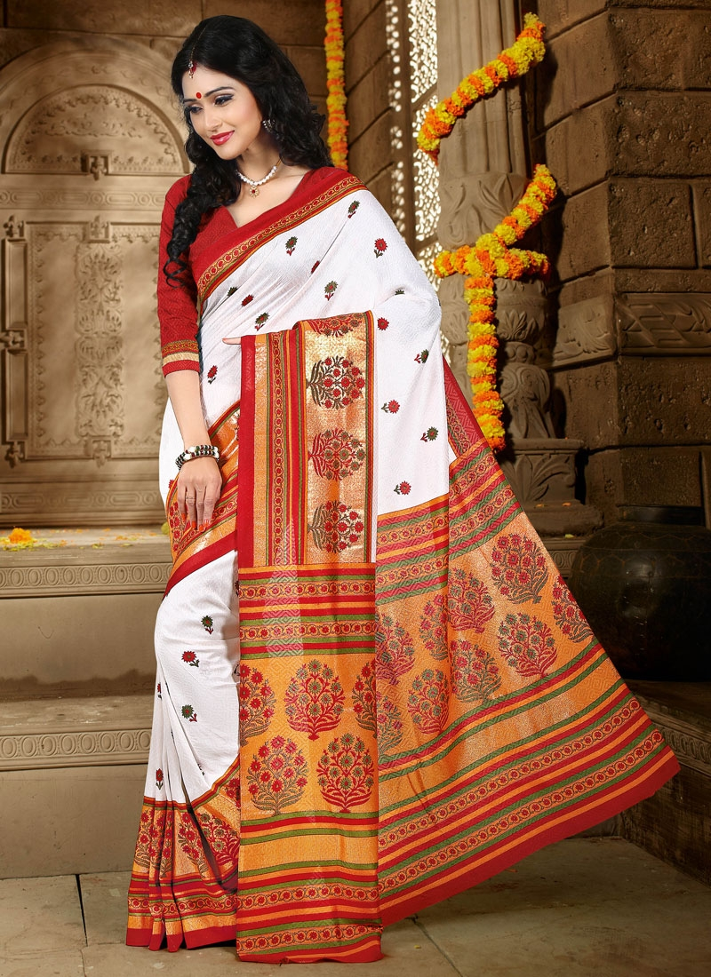 Princely White Color Art Silk Casual Saree