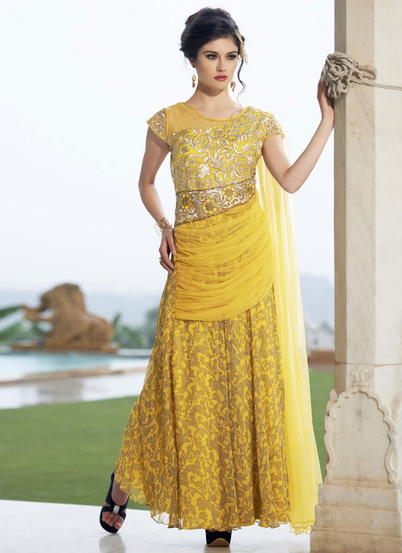 Princely Yellow Color Designer Readymade Gown