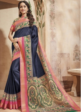 Print Work Art Silk Classic Saree For Casual