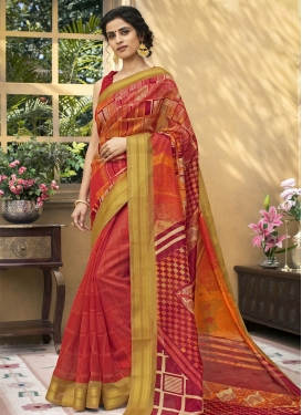 Print Work Art Silk Contemporary Style Saree For Casual