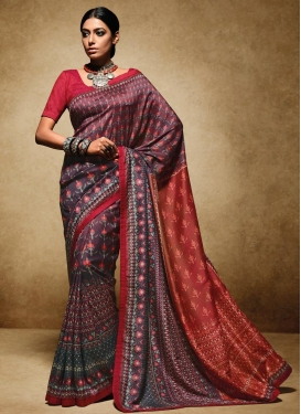 Print Work Art Silk Trendy Classic Saree For Ceremonial