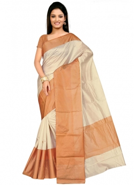 Print Work Beige and Brown Traditional Saree