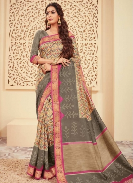 Print Work Beige and Grey Contemporary Style Saree