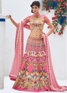 Print Work Beige and Hot Pink Silk Designer A Line Lehenga Choli
