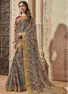 Print Work Beige and Red Contemporary Style Saree