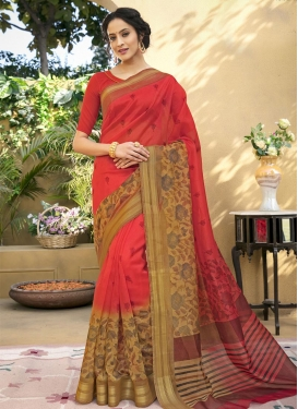 Print Work Beige and Red Trendy Saree