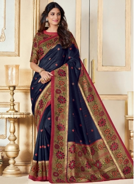 Print Work Bhagalpuri Silk Brown and Navy Blue Classic Saree