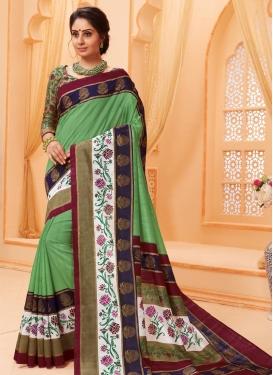 Print Work Bhagalpuri Silk Classic Saree