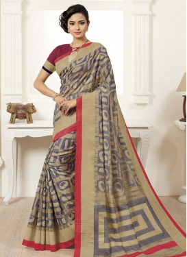 Print Work Bhagalpuri Silk Contemporary Style Saree