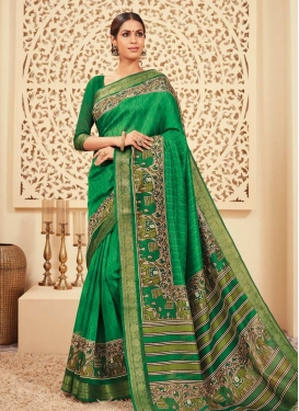 Print Work Bhagalpuri Silk Traditional Saree
