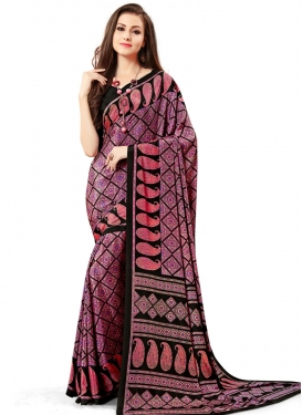 Print Work Black and Fuchsia Contemporary Saree