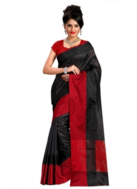 Print Work Black and Red Trendy Saree