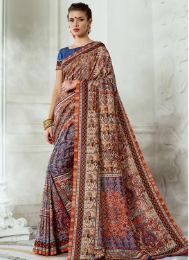 Print Work Blue and Brown Contemporary Style Saree