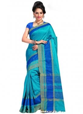 Print Work Blue and Light Blue Trendy Saree