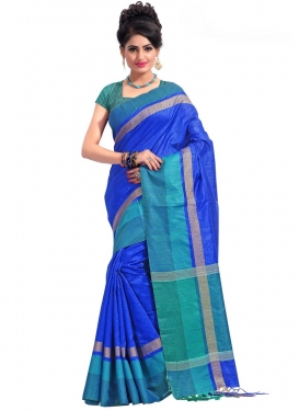 Print Work Blue and Teal  Contemporary Saree