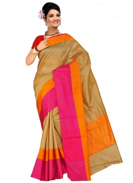 Print Work Brown and Orange Contemporary Saree