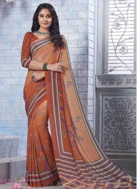 Print Work Contemporary Saree For Casual