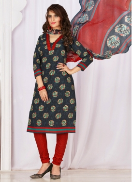 Print Work Cotton Grey and Red Trendy Churidar Salwar Suit