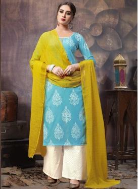 Print Work Cotton Palazzo Style Pakistani Salwar Suit