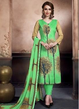 Print Work Cotton Pant Style Salwar Kameez
