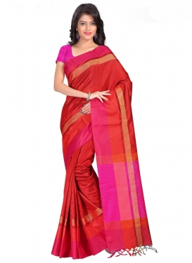 Print Work Cotton Silk Contemporary Style Saree For Ceremonial