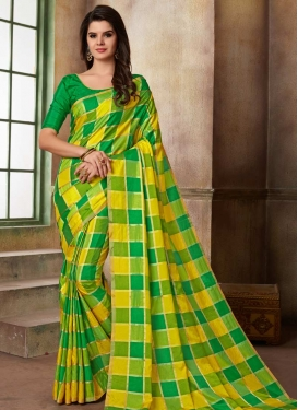 Print Work Cotton Silk Green and Yellow Contemporary Style Saree