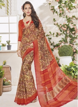 Print Work Cream and Orange Trendy Classic Saree