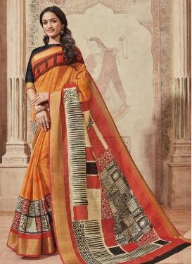 Print Work Cream and Orange Trendy Classic Saree